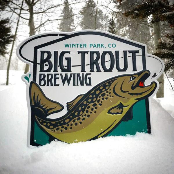 Big Trout Brewing tin tacker sign