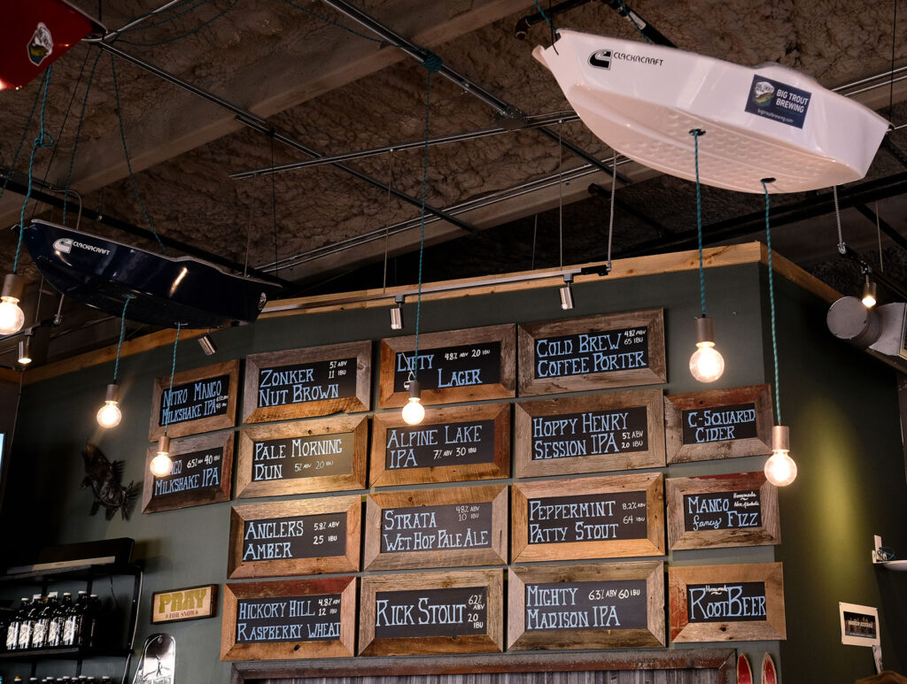 Beers on tap at Big Trout Brewing in Winter Park CO
