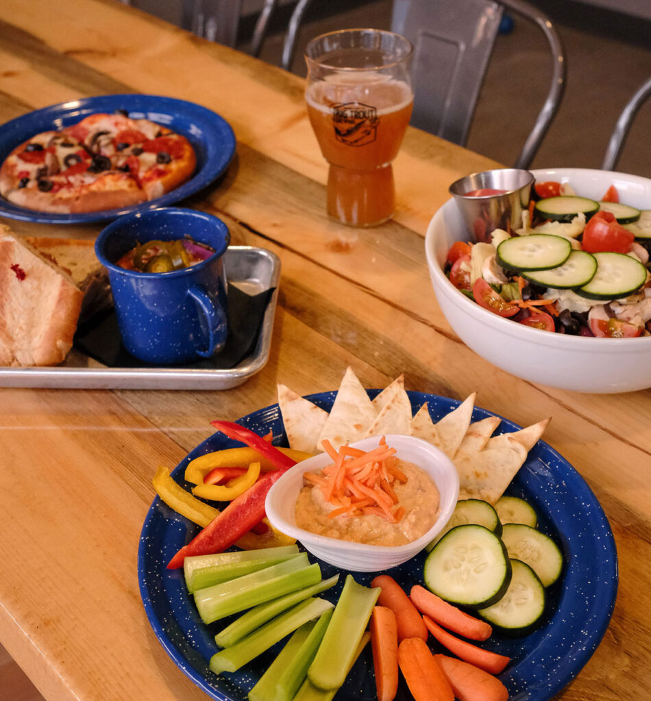 restaurant food at Big Trout Brewing in Winter Park, CO