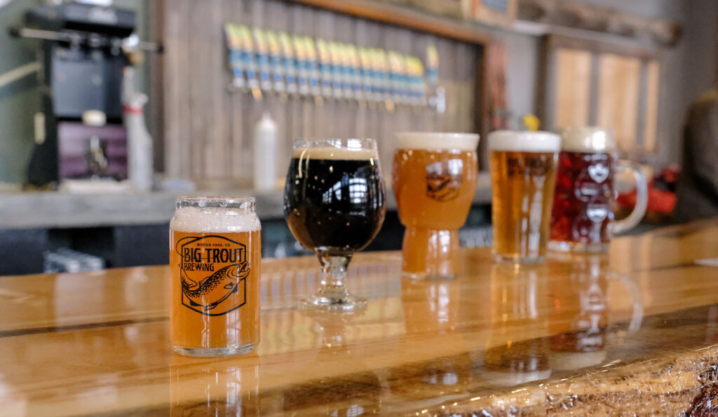 the bar at Big Trout Brewing in Winter Park, CO